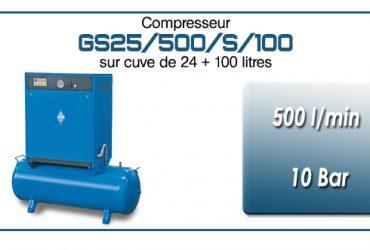 Compresseur silencieux sur réservoir 24+100 litres GS25 – 500 l/min