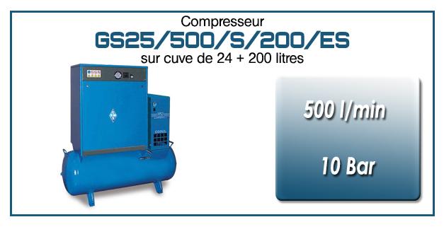 Compresseur silencieux sur réservoir 24+200 litres avec sécheur type GS25–500 l/min