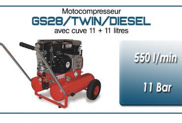 Moto-compresseur bicylindre sur double réservoir mobile type GS28 – 550l/min avec moteur diesel