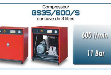 Compresseur silencieux avec réservoir 3 litres type GS35 – 600 l/min