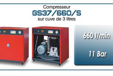 Compresseur silencieux avec réservoir 3 litres type GS37 – 660 l/min