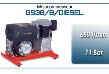 Moto-compresseur bicylindre lubrifié type GS38 – 650 l/min avec moteur diesel