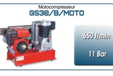 Moto-compresseur bicylindre lubrifié type GS38 – 650 l/min avec moteur essence
