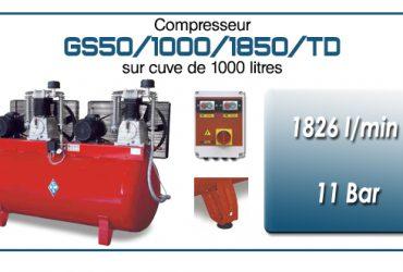 Compresseur tandem GS50-1826 l/min sur cuve 1000 litres