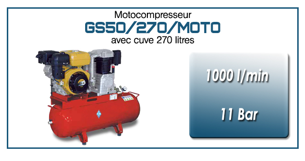 Moto-compresseur bicylindre sur réservoir mobile de 270 litres type GS50 – 1000l/min avec moteur essence