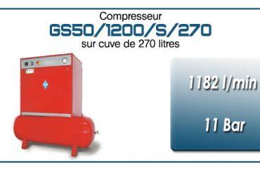 Compresseur silencieux sur réservoir 270 litres type GS50 – 1182 l/min