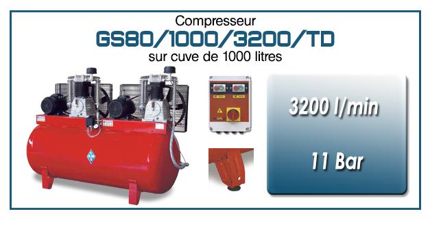 Compresseur tandem GS80-3200 l/min sur cuve 1000 litres