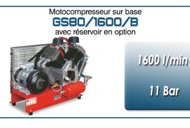Moto-compresseur à quatre cylindres lubrifiés type GS80 – 1600 l/min avec moteur électrique triphasé
