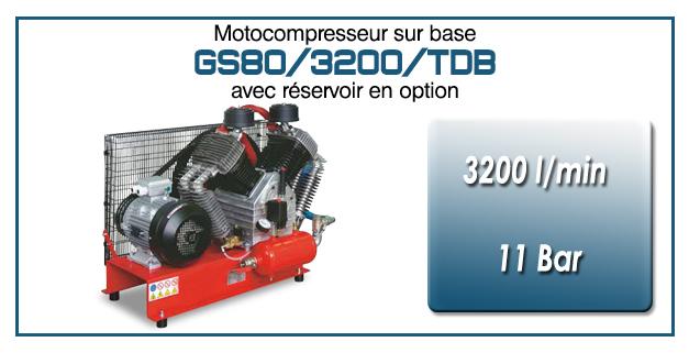 Moto-compresseur en duo à quatre cylindres lubrifiés type GS80 – 3200 l/min avec moteur électrique triphasé