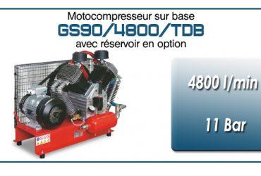 Moto-compresseur en duo à quatre cylindres lubrifiés type GS90 – 4800 l/min avec moteur électrique triphasé