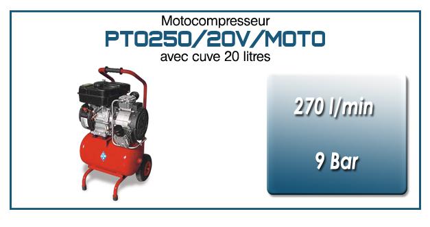 Moto-compresseur monocylindre sur réservoir mobile de 20 litres type PTO250 – 270 l/min avec moteur essence