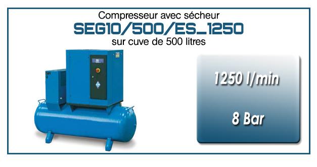 Compresseur à vis sur réservoir 500 litres avec sécheur type SEG10 – 1250 l/min