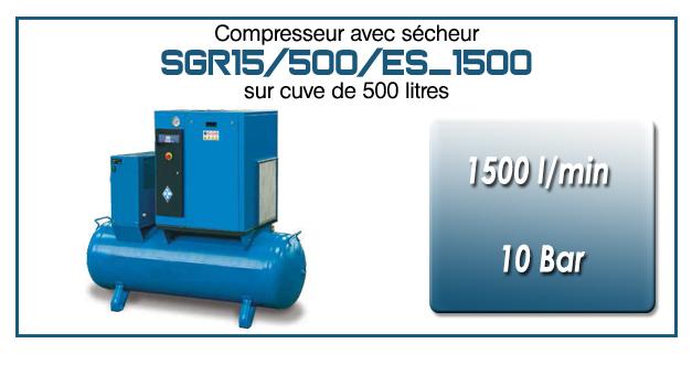 Compresseur à vis sur réservoir 500 litres avec sécheur type SGR15 – 1500 l/min
