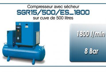 Compresseur à vis sur réservoir 500 litres avec sécheur type SGR15 – 1800 l/min