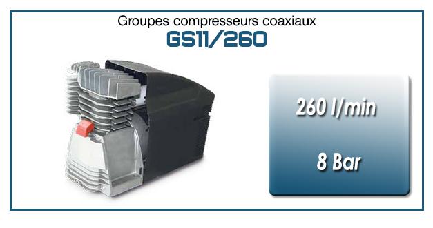 Moto-compresseur monocylindre lubrifié type GS11– 260 l/min