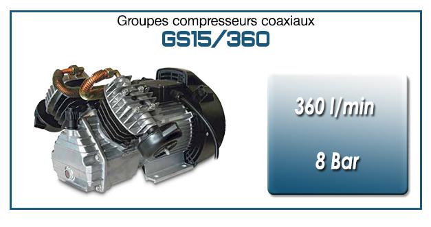 Moto-compresseur bicylindre lubrifié type GS15 – 360 l/min