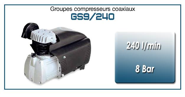 Moto-compresseur monocylindre lubrifié type GS9 – 240 l/min
