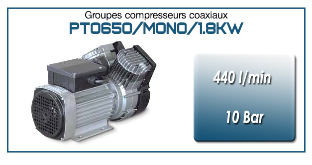 Moto-compresseur bicylindre Oilless type PTO650/MONO-1.8KW