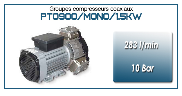 Moto-compresseur tricylindre Oilless type PTO900/MONO-1.5KW