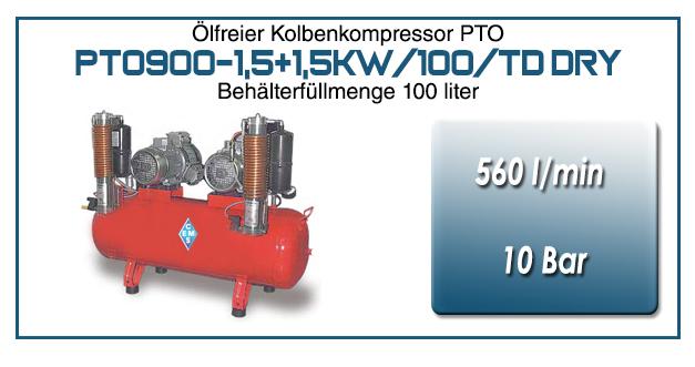 Kompressor typ PTO900-1,5+1,5kW/100/TD DRY