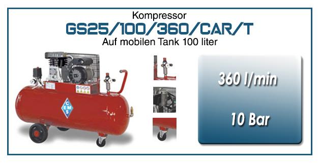 Luftkompressoren mit riemenantrieb typ GS25/100/360/CAR/T