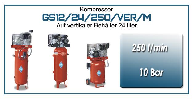 Luftkompressoren mit riemenantrieb typ GS12/24/250/VER/M