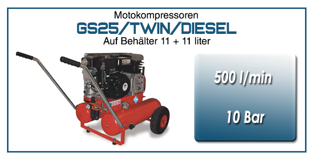 Motokompressor typ GS25/TWIN/DIESEL
