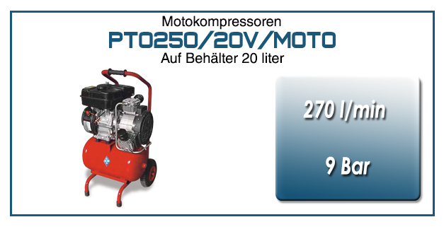 Motokompressor typ PTO250/20V/MOTO