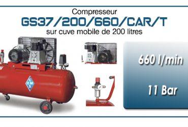 Compresseur à courroie GS37-660 l/min sur cuve mobile 200 litres