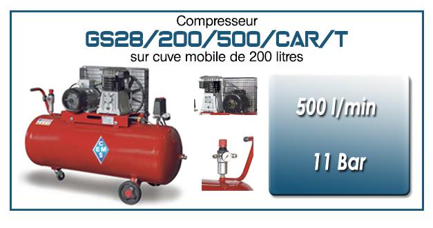 Compresseur à courroie GS28-500 l/min sur cuve mobile 200 litres