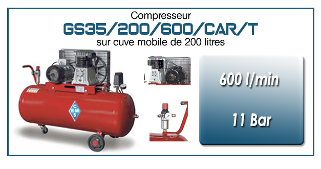 Compresseur à courroie GS35-600 l/min sur cuve mobile 200 litres