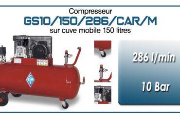 Compresseur à courroie GS10-286 l/min sur cuve mobile 150 litres