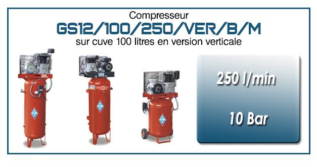 Compresseur à courroie GS12-250 l/min sur cuve 100 litres