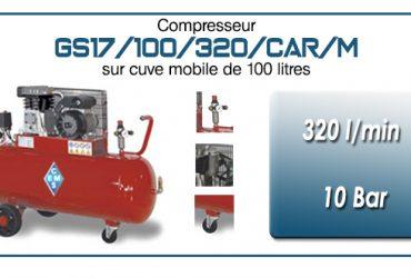Compresseur à courroie GS17-320 l/min sur cuve mobile 100 litres