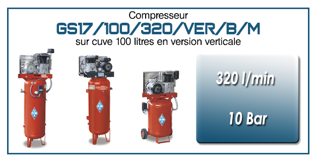 Compresseur à courroie GS17-320 l/min sur cuve verticale 100 litres