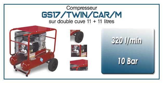 Compresseur à courroie GS17-320 l/min sur double cuve 11+11 litres