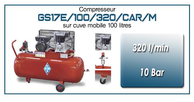 Compresseur à courroie GS17E-320 l/min sur cuve mobile 100 litres