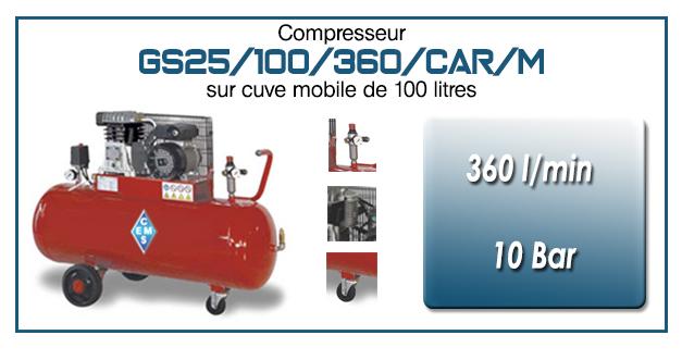 Compresseur à courroie GS25-360 l/min sur cuve mobile 100 litres