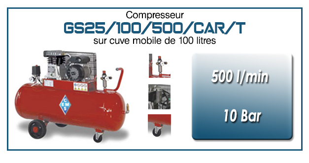 Compresseur à courroie GS25-500 l/min sur cuve mobile 100 litres