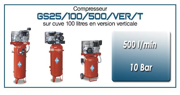 Compresseur à courroie GS25-500 l/min sur cuve verticale 100 litres