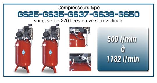 Compresseurs type GS25 35 37 38 50 sur cuve 270 litres ur cuve verticale sans logo