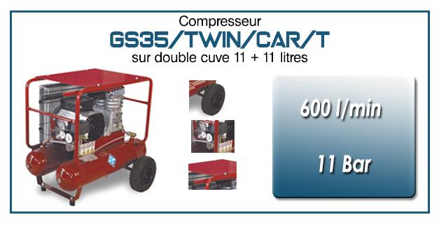 Compresseur à courroie GS35-600 l/min sur double cuve 11+11 litres