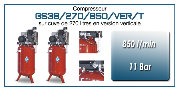 Compresseur à courroie GS38-850 l/min sur cuve verticale 270 litres