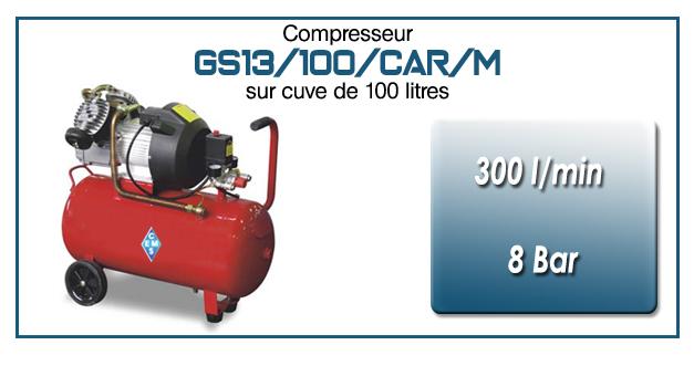 Compresseur coaxial GS13-300 l/min sur cuve mobile de 100 litres