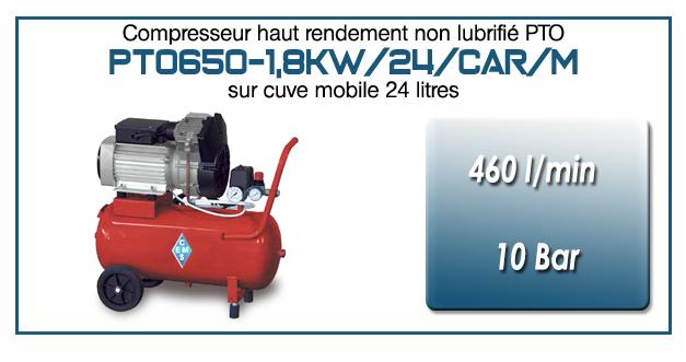 Compresseur bicylindre Oilless type PTO650 – 460 l/min sur cuve mobile 24 Litres