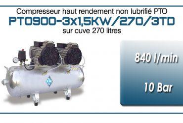 Compresseur tricylindre Oilless en trio type PTO900 – 840 l/min sur cuve de 270 Litres