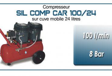 Compresseur silencieux SIL COMP – 100 l/min sur cuve mobile 24 litres