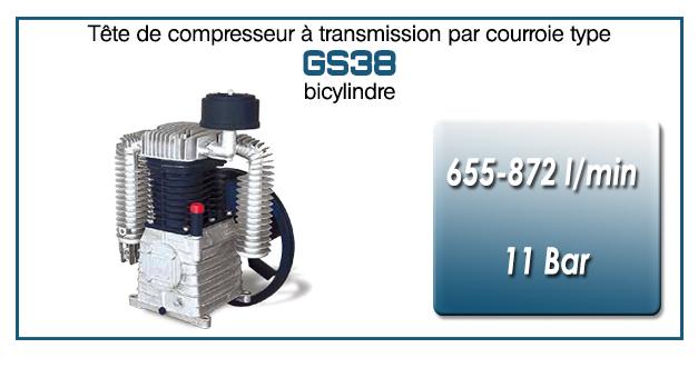 Tête de compresseur à transmission par courroie type GS38