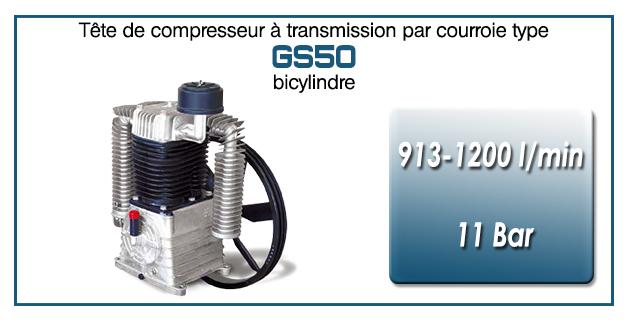 Tête de compresseur à transmission par courroie type GS50