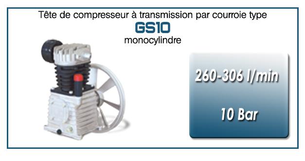 Tête de compresseur à transmission par courroie type GS10